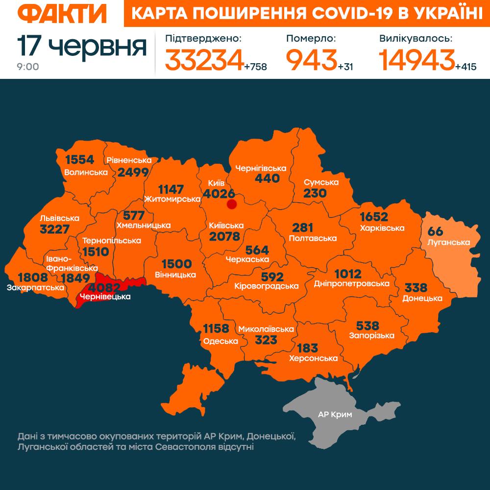коронавірус в україні 17 червня (КАРТА)