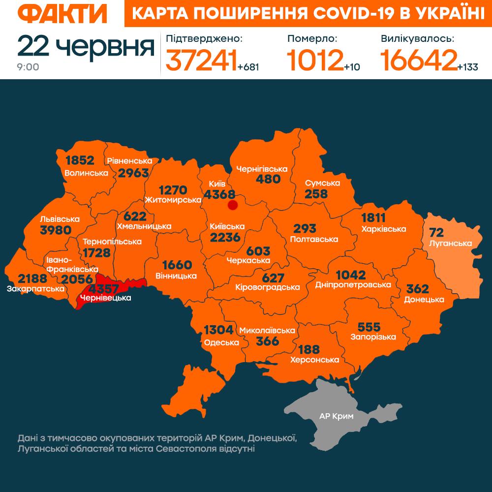 коронавірус в Україні 22 червня (КАРТА)