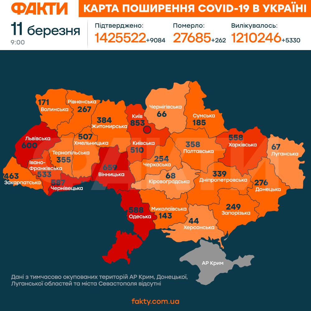 карта коронавірус україна нова 11.03